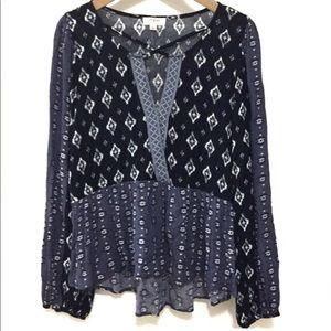 Umgee Boho Bubble Sleeve Printed Top